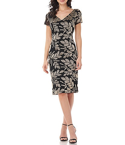 JS Collections Metallic Embroidered Sheath Dress