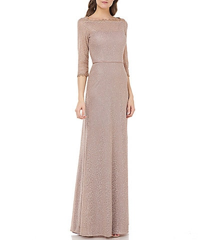 Js Collections Metallic Lace Embroidered Mesh A-Line Gown