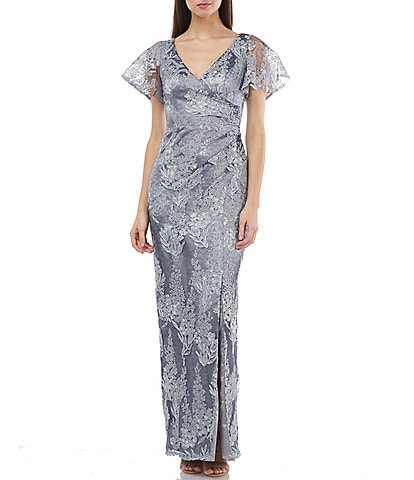 JS Collections Metallic Lace Surplice Flutter Sleeve Front Side Slit Gown