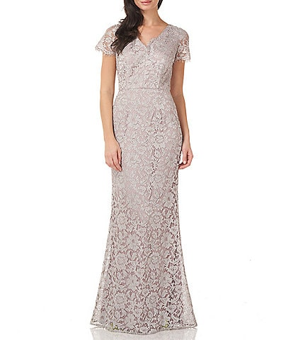 JS Collections Metallic Lace V-Neck Flutter Short Sleeve Mermaid Gown