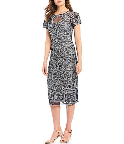 JS Collections Metallic Soutache Midi Sheath Dress