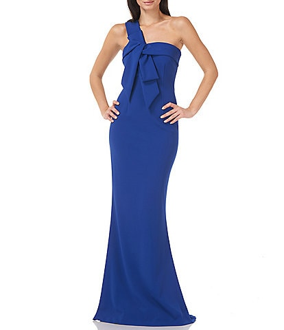 JS Collections One Shoulder Stretch Crepe Mermaid Bow Gown