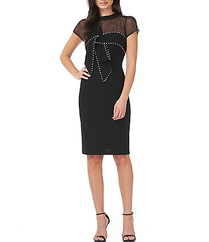JS Collections Pearl Trim Bow Stretch Crepe Sheath Dress