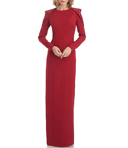 JS Collections Pleated Beaded Shoulder Stretch Crew Neck Long Sleeve Capelet Crepe Gown