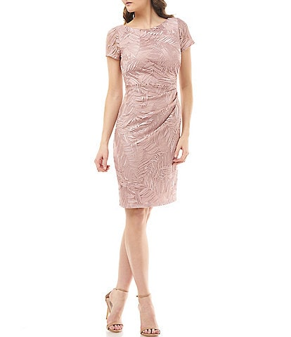 JS Collections Pleated Embroidered Mesh Short Sleeve Sheath Dress