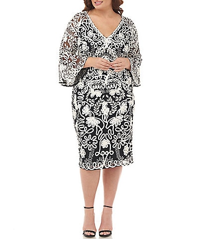 JS Collections Plus Size Beaded Sequin Soutache Bell Sleeve Midi Length Sheath Dress