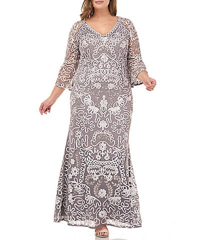 JS Collections Plus Size Bell Sleeve V-Neck Sequin Soutache Gown