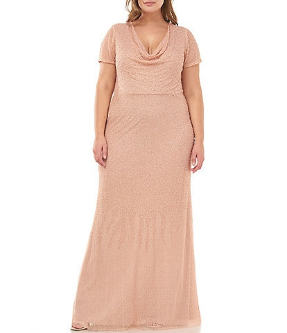 JS Collections Plus Size Drape Neck Beaded Mesh Gown