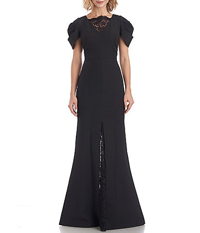 JS Collections Scalloped Lace V-Neck Short Sleeve Lined Front Slit Lace Panel Crepe Gown