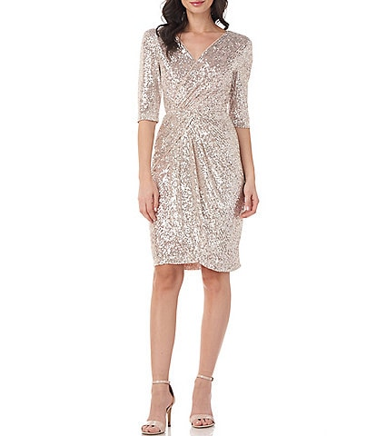 JS Collections Sequin Faux Wrap Knee Length Dress