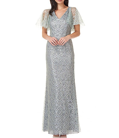 JS Collections Sequin Flutter Short Sleeve Mermaid Gown