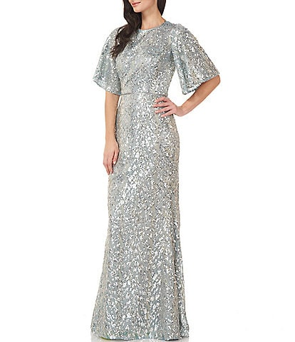 JS Collections Sequin Flutter Sleeve Mermaid Gown