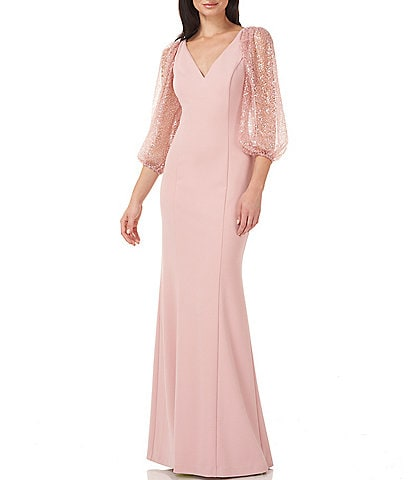 JS Collections Sequined Balloon Sleeve Stretch Crepe Gown