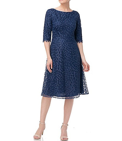 JS Collections Sophia Illusion Boat Neck Elbow Sleeve Lace Dress