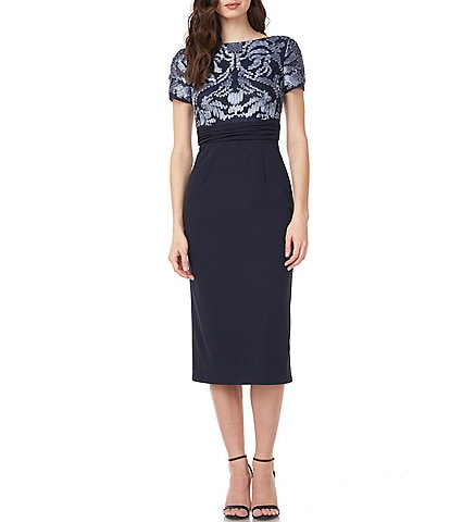 JS Collections Soutache Embroidered Crepe Sheath Midi Dress