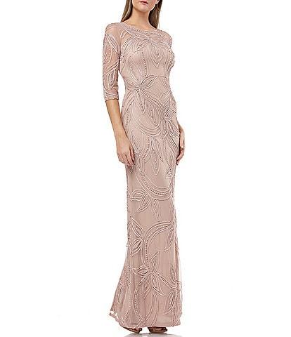JS Collections Soutache Embroidered Pearl Detail A-Line Gown