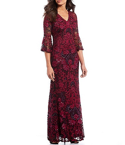 JS Collections Sequin Embroidered Soutache V-Neck Bell Sleeve Sheath Gown