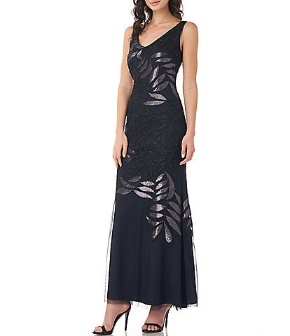 JS Collections V-Neck Embroidered Mesh Leaf Mermaid Gown