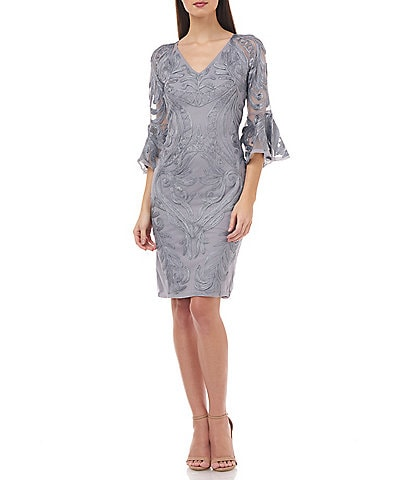 JS Collections V-Neck Soutache Bell Sleeve Sheath Dress