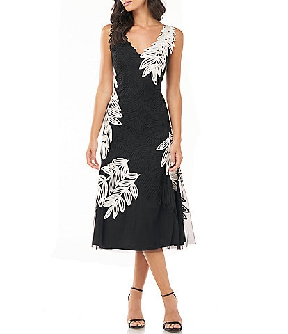 JS Collections V-Neck Soutache Embroidered Midi Dress