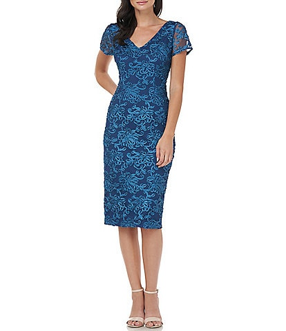 JS Collections V-Neck Short Sleeve Soutache Sheath Dress