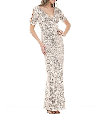 JS Collections V-Neck Split Sleeve Sequin Gown