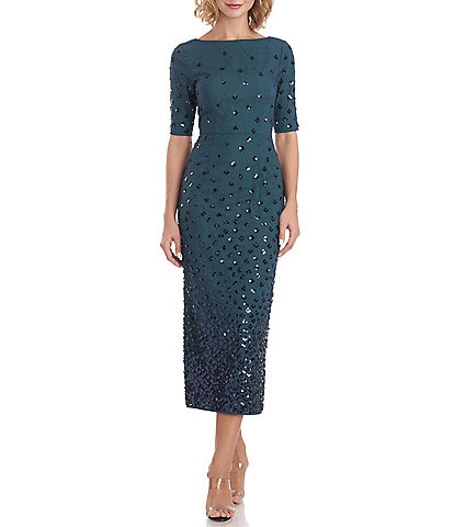JS Collections Whitney Ombre Sequin Dot Boat Neck Short Sleeve Midi Sheath Dress