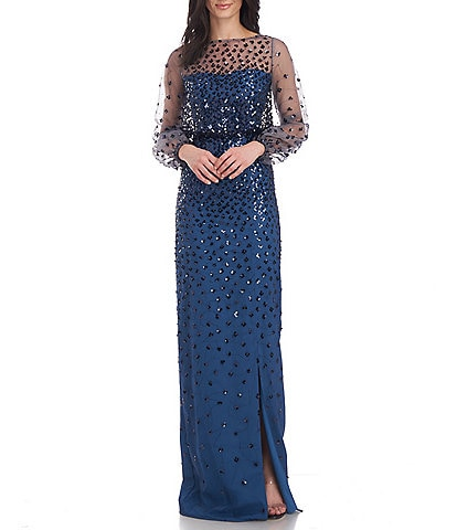 JS Collections Zoe Sheer Long Balloon Sleeve Illusion Boat Neck Front Slit Sequin Dot Blouson Gown