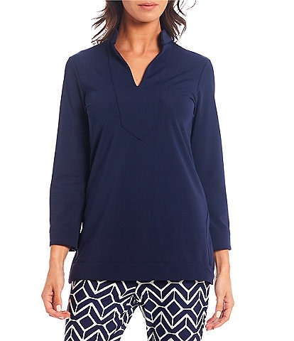 Jude Connally Chris Long Sleeve Collared V-Neck Knit Tunic