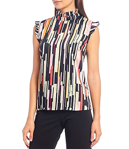 Julie Brown Juliana All Over Print Ruffle Mock Neck Crepe Blouse