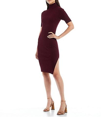 Julie Brown Ellen Stretch Knit Turtleneck Side Slit Detail Short Sleeve Bodycon Dress