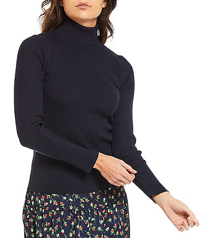 Julie Brown Long Sleeve Ribbed Knit Turtleneck Sylvia Top