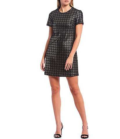 Julie Brown Metallic Speckled Faux Suede Round Neck Short Sleeve Dress