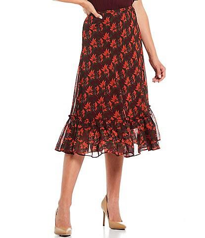 Julie Brown Nessa Floral Print Sheer High Waisted Woven Ruffle Hem Coordinating Skirt
