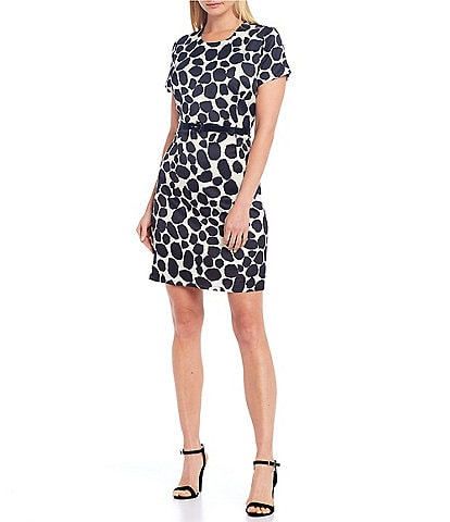 Julie Brown Sprinkle Dot Print With Faux Patent Leather Belt Dress
