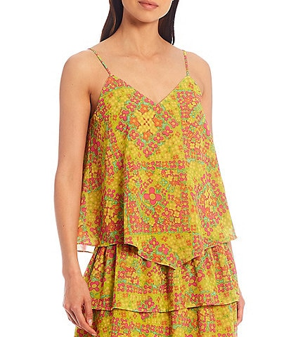 Julie Brown Tory Printed Sleeveless V-Neck Tank