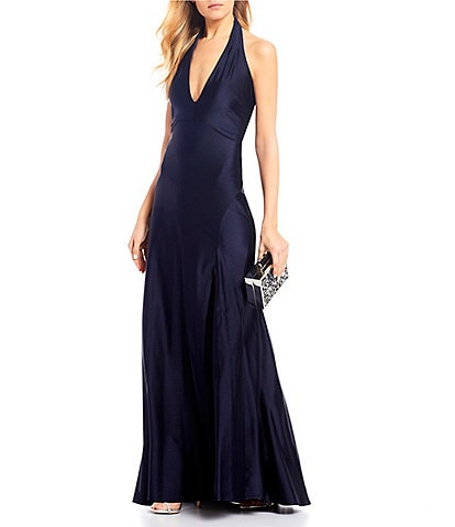 Jump Halter-Neck Side Slit Stretch Satin Long Dress