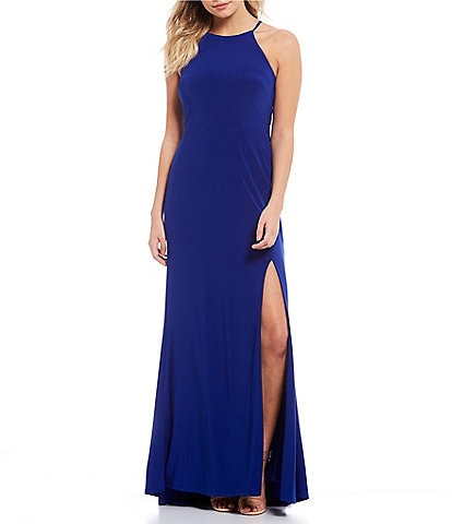 Jump Halter Neck High Side Slit Jersey Long Dress