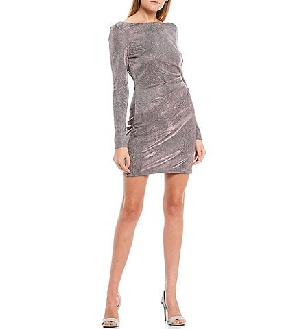 Jump Long Sleeve Metallic Scoop Back Dress