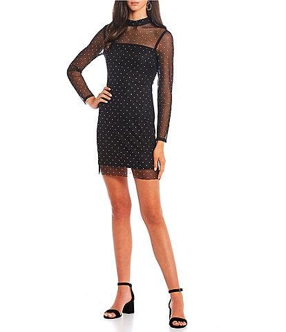 Jump Sheer Long-Sleeve Mockneck Dew Drop Mesh Overlay Sheath Dress