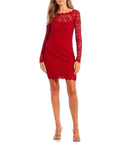 Jump Long-Sleeve Patterned-Lace Sheath Dress