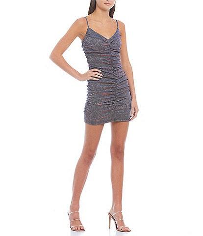 Jump Metallic Glitter Knit V-Neck Spaghetti Strap Shirred Front Dress