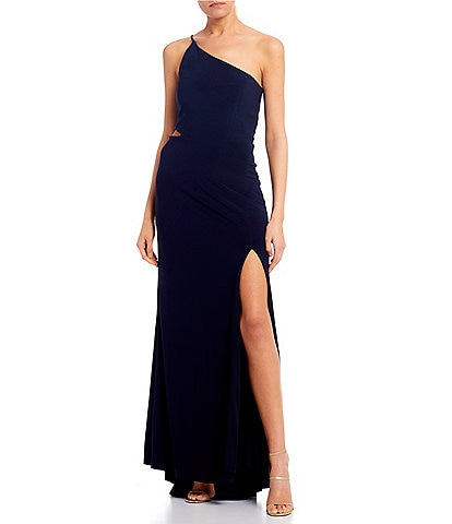 Jump One Shoulder Side Cutout High Side Slit Long Dress