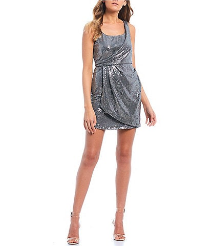 Jump One Shoulder Metallic Wrap Dress