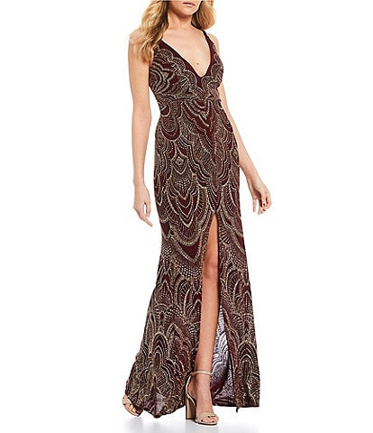 Jump Plunging Neck High Side Slit Glitter Pattern Long Dress