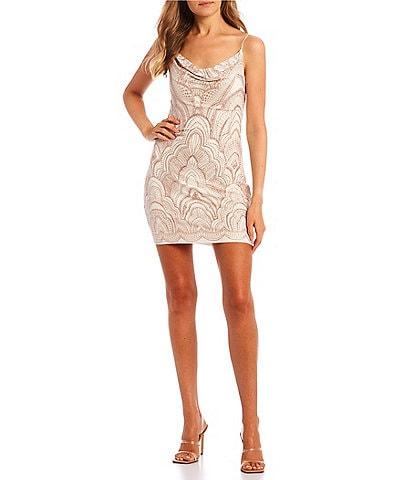 Jump Sleeveless Cowlneck Glitter-Accented Slinky Sheath Dress