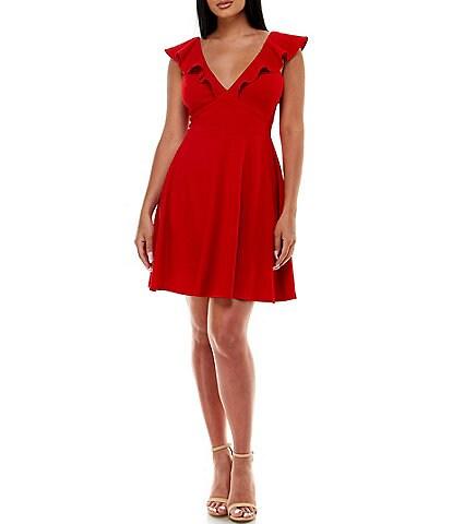 Jump Sleeveless Ruffled Fit-And-Flare Dress