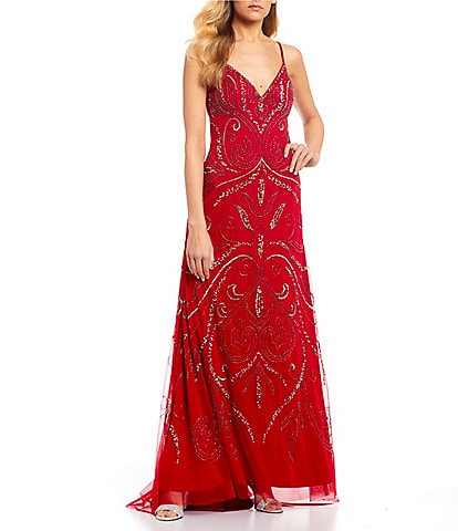 Jump Spaghetti Strap Beaded Pattern Long Dress