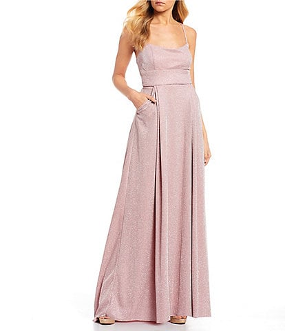 Jump Spaghetti Strap Lace-Up Back Metallic Shimmer Long Dress