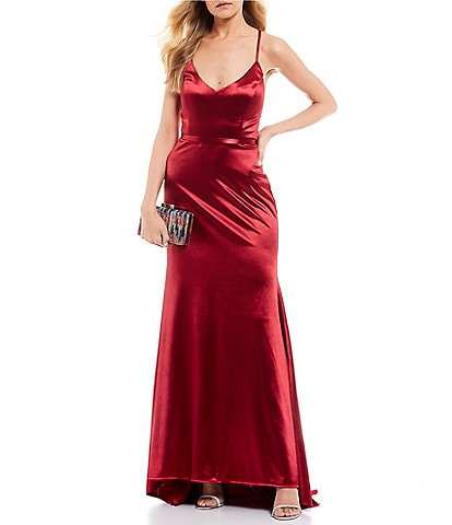 Jump Spaghetti Strap V-Neck Satin Long Dress